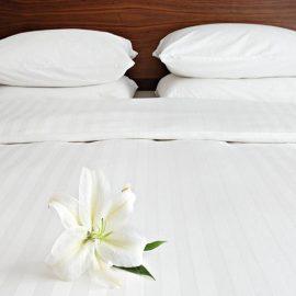 polycotton satin stripe duvet pillow flat pillow white