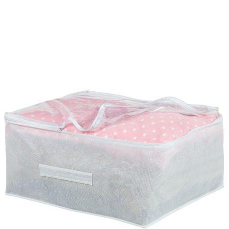 White embossed blanket storage bag