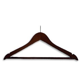 Dark Wooden Hanger With Stem and Bar