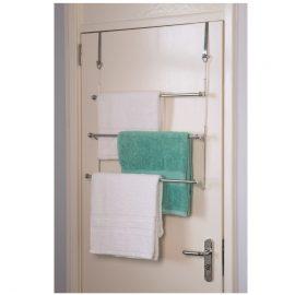 Hook over door triple towel rail