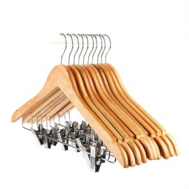 Light Wooden Hanger with Hook and clips