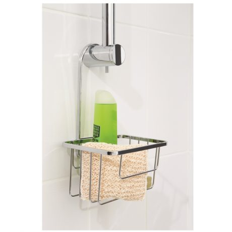 Shower riser rail hook over caddy