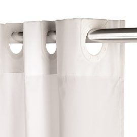 White StripeTextile Hook and Hang Shower Curtain