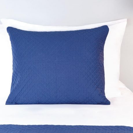 Essentials Quilted Waffle Cushion Cover Blue Denim