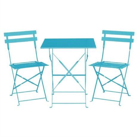 Bolero Pavement Style Square Steel Table Seaside Blue